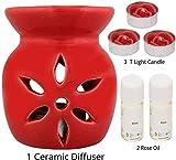 Aroma Salut » Brûleur en céramique Aroma Diffuseur 3 Pcs Gratuit Bougies Chauffe-Plat avec 2 huiles aromatiques, 4 ML...