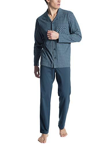Calida Herren Relax Imprint 1 Zweiteiliger Schlafanzug, Blau (Blue Wing Teal 517), Large (Herstellergröße: L)