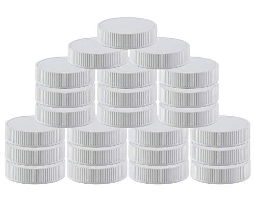 Pinnacle Mercantile Plastic Mason Jar Regular Mouth Screw-On White Lids-24 Pack-Standard Size Jar Storage Caps-BPA Free - Made in USA