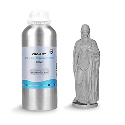 3D Printer Resin, Creality Water Washable Resin Rapid Resin LCD UV-Curing Resin 405nm Standard Photopolymer Resin for 3D Printing (Grey, 1000g)