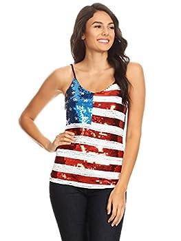 Anna-Kaci Womens Patriotic USA Flag American Sequin V Neck Cami Tank Top Multicolored Medium