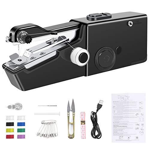 AUCHIKU Mini Machine à Coudre Portable avec Câble de Chargement,30 Pcs Accessoires Adaptés pour DIY Outil de Point, vêtements,tissu, Rideaux, Bricolage(Noir)