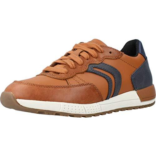 Geox Jungen J ALBEN Boy D Sneaker, Braun (Cognac/Navy C6176), 30 EU