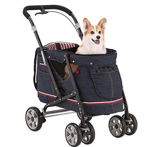 Cochecito plegable de 4 ruedas, para gatos y perros pequeños y medianos de hasta 30 kg, freno de seguridad, accesorios para mascotas
