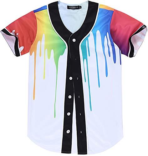 PIZOFF Men's Sport Short Sleeve Baseball Jersey Splatter Paint Print Shirt Arc Bottom Button Down Uniform Tees