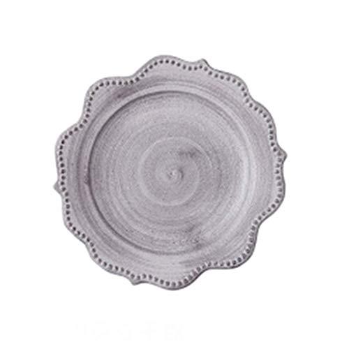 TJLSS Vajillas de cerámica-cerámica Blanca manchada Fabricadas a Mano Plato de cerámica Durable de la Placa de Cena (Size : 19 * 2cm)