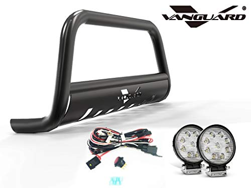 VANGUARD Black Powdercoat Bull Bar 4.5in Round LED Kit | Compatible with 07-18 RDX / 07-16 CR-V