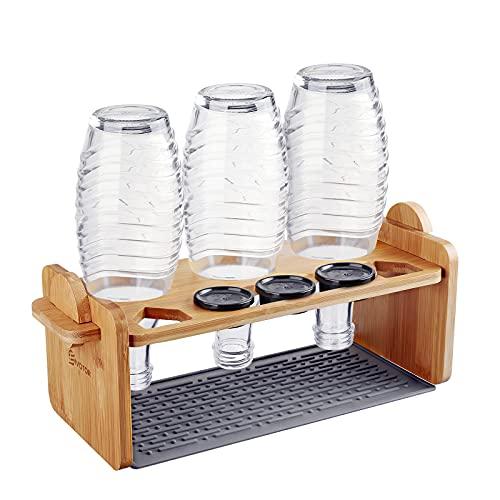 Flaschenhalter für Sodastream, EIVOTOR Glasflaschen Halter Abtropfhalter mit Silikon Abtropfmatte Abtropfständer Abtropfgestell Abnehmbarer aus Bambus für 3er Soda Stream Crystal Emil Flaschen usw.