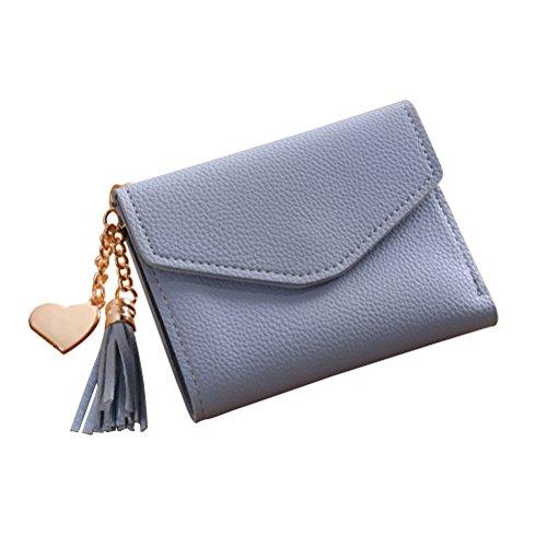 LUOEM Klein Portemonnaie Damen Mädchen Elegant Geldbeutel Leder Geldbörse Geldklammern mit Quaste Anhänger (Hellblau)