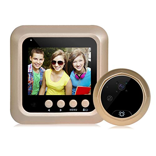 Sbeautli 22,4 Pulgadas de la Puerta Digital Inteligente Noche de la Puerta de la cámara Visor de visión del Ojo Timbre Fácil Instalación (Color : Gold)