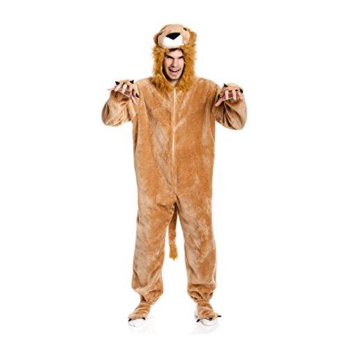 Kostümplanet® Löwenkostüm Herren Löwe Verkleidung Karneval Löwen Kostüm Jumpsuit Fasching Plüsch Overall Kostüme Erwachsene Männer Anzug Größe 48/50