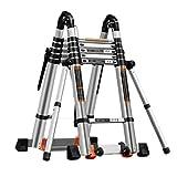 LZL Verdickung 27ft Aluminium-Teleskop-Verlängerungsleiter 330LBs Maximal-Kapazität A-Frame...