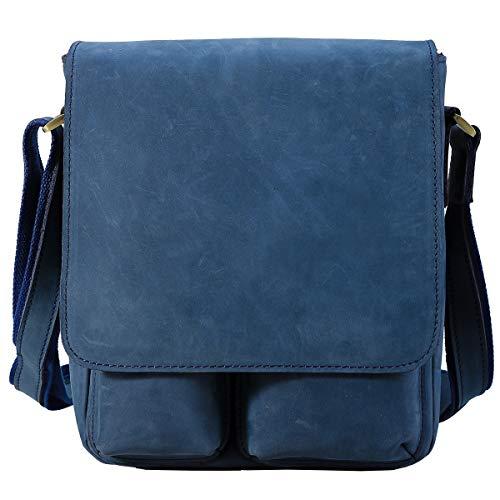 本革 ヌバックレザー ショルダーバッグ 斜め掛けバッグ メンズ iPad対応 ネイビー カジュアル 自転車 通勤 アウトドア 鞄 (ネイビー) (ネイビー)