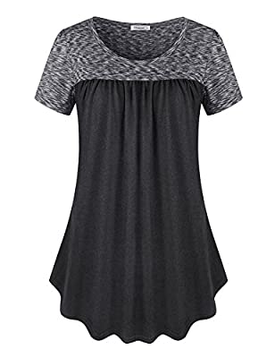 Elemevol Womens Round Neck Pleated Summer Tunic Casual Short Sleeve T Shirt Tops
