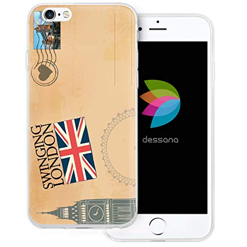 dessana postzegels transparante beschermhoes mobiele telefoon case cover tas voor Apple, Apple iPhone 6/6S, Ansichtkaart Londen