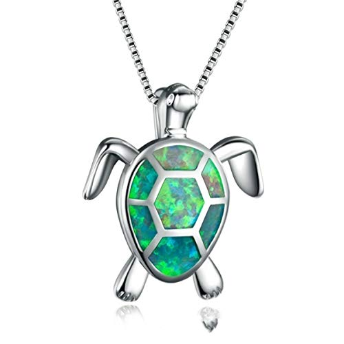 Beiswe Cute Turtle Pendant Necklace Lovely Animals White Fire Opal 925 Sterling Silver Necklace Jewellery Gifts (Green)