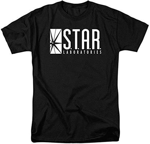 Camisetas de Manga Corta para Hombres y Mujeres Patrón Interesante Flash Star Labs Superhero Star Laboratorios Camiseta Pegatinas XL