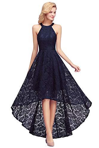 MisShow Damen Abendkleid Spitzen Ärmellos Cocktailkleid Elegante A-Linie Brautmutterkleid Navy Blau GR. 48