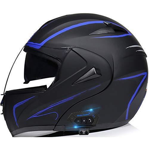 STRTG Casco Bluetooth para Motocicleta, Casco Completo Modular con Visera Solar Doble Tipo abatible, Casco Certificado por Dot, Respuesta automática Manos Libres C,L