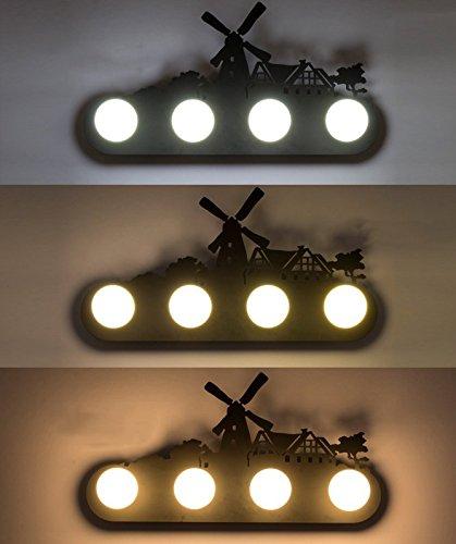 Retro mur industriel lampe lumière, le salon la chambre la personnalité du corridor avant miroir avec lampe, ampoule 60x 30cm,Moulin chambre,5 watt LED ampoule avec gradateur 3-couleurs