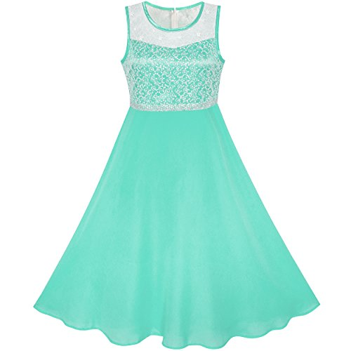 Sunny Fashion Vestido para niña Turquesa Gasa Dama de Honor Baile Pelota Maxi Vestido 14 años