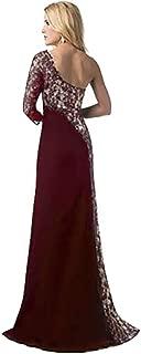 KCatsy Women Sexy Lace Stitching Single Sleeve Party Elegent Dress