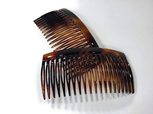 2 x Einsteckkamm ca. 9 x 4,6 cm havanna-braun Spaltzahn Steckkamm made in France (520H)