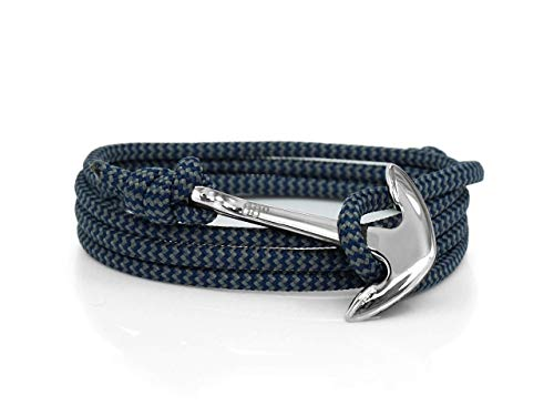 Eighty Eight Degrees Anchor Rope Bracelet for Men & Women Made from Stainless Steel and Paracord, Adjustable, Handmade in The UK (Storm Zig Zag & Silver, Stainless Steel)