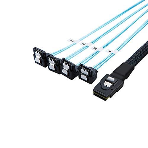 CableCreation Mini SAS 36Pin (SFF-8087) Male to 4X Angle SATA 7Pin Female Cable, Mini SAS Host/Controller to 4 SATA Target/Backplane Cable, 3.3FT