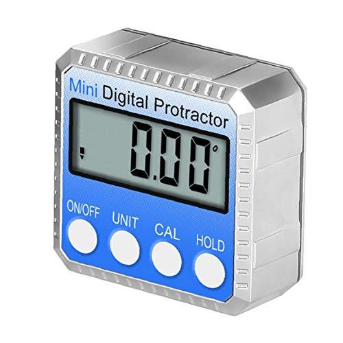 Sanfiyya Ángulo medidor Digital Buscador Azul Nivel electrónico 360 ° Bisel Mitre inclinómetro Herramienta de medición con la reparación del LCD de Bisel Caja de la Prueba