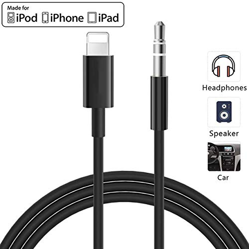 for iPhone Aux Cord for Car, Lighting to 3.5mm Audio Stereo Cable Compatible for iPhone 11/11 Pro/XS/XR/X 8 7 6/iPad, iPod to Car Stereo, Speaker, Headphone (3.3ft/1M)
