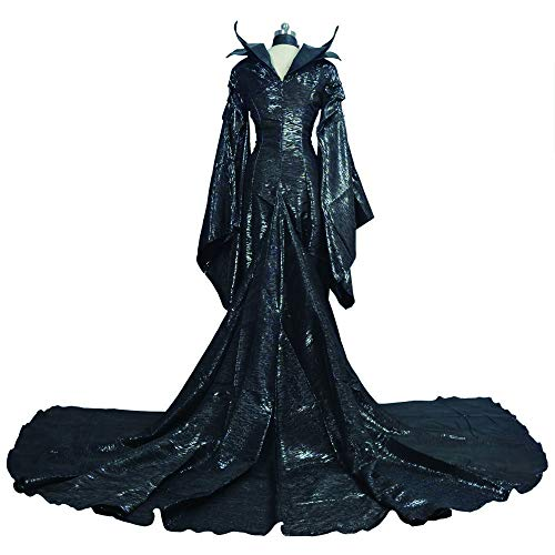COOGG Op maat gemaakt Donkere Heks Maleficent Volwassen Vrouwen Halloween Party Maleficent Cosplay Kostuum Zwarte Jurk Hoorn Hoed Meisjes