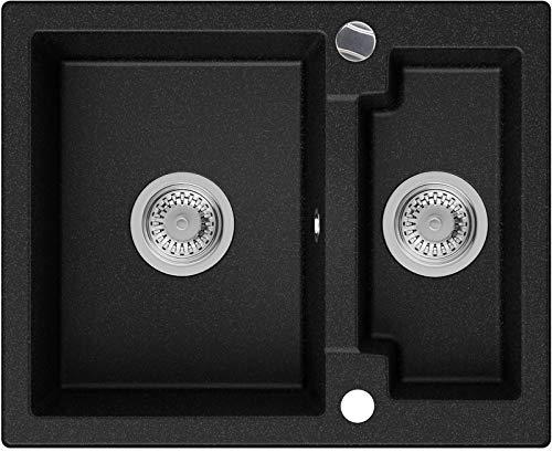 Granitspüle Graphit 59,5 x 48,5 cm, Spülbecken + Siphon Automatisch, Küchenspüle ab 60er Unterschrank in 5 Farben mit Siphon und Antibakterielle Varianten, Einbauspüle von Primagran