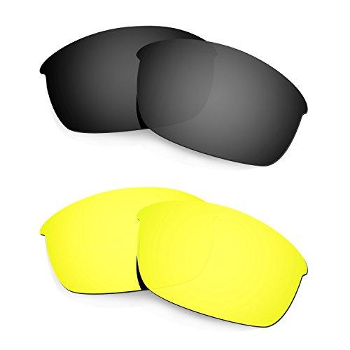HKUCO Mens Replacement Lenses For Oakley Flak Jacket Black/24K Gold Sunglasses