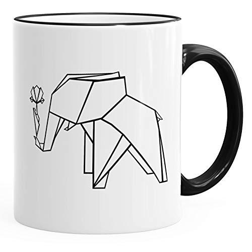 Geschenk-Tasse Origami Elefant mit Rose Polygon Kaffee-Tasse Keramiktasse MoonWorks® schwarz unisize