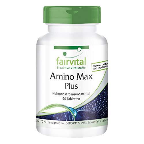 Amino Max Plus - complejo de aminoácidos - vegetariano - 90 Comprimidos - contiene 13 aminoácidos esenciales - Calidad Alemana
