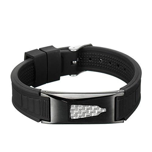 7 in 1 Titanium Magnetic Energy Bio Bracelet Health Magnet Bracelet-Black and Silver