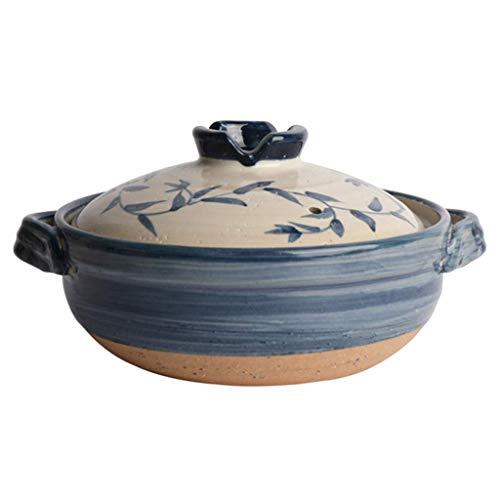 Lsqdwy Japanische Keramik Hot Pot Auflauf Ton Ton Topf Runde Auflauf Hitzebeständig Suppentopf B 1,6 l Reiskocher Slow Cooker
