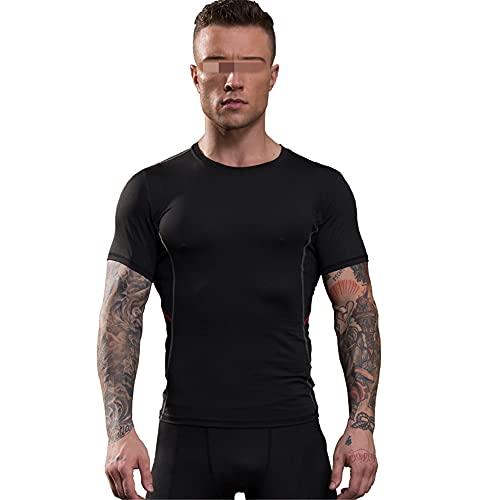Shirt Compresión Hombre Manga Corta Cuello Redondo Elástico Verano Hombre Shirt Moda Empalme Hombre Shirt Deportiva Secado Rápido Que Absorbe La Humedad Hombre Shirt Musculosa A-Black Red1 S