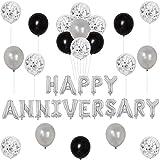 記念日飾り付け シルバーブラック 恋愛 結婚 記念日装飾 HAPPY ANNIVERSARYアルミ風船 お店 部屋装飾