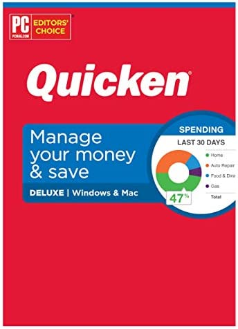 Quicken Deluxe Personal Finance Manage your money and save 1 Year Subscription Windows Mac product image