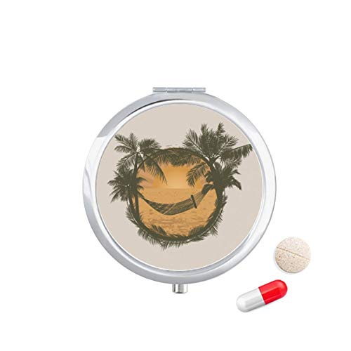 Doe-het-zelf denker kokosboom wolk hangmat strand Travel Pocket Pill Case Medicine Drug Opbergdoos Dispenser Spiegel Gift