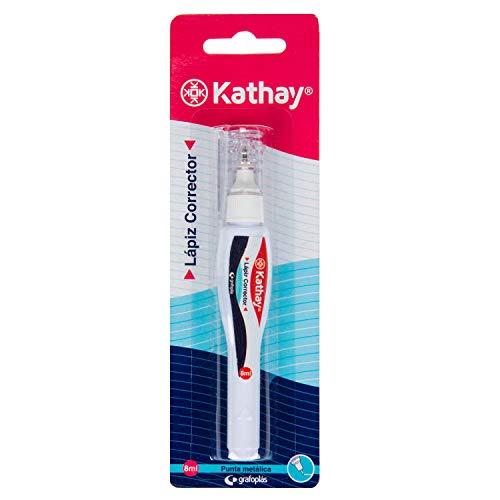 Kathay 86030700. Lápiz Corrector de Escritura Blanco, Punta Metal, 8ml, Perfecto para Correcciones