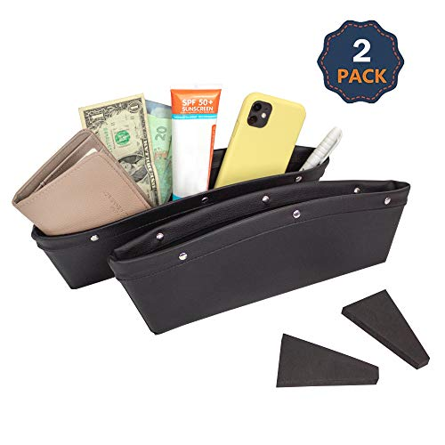 EcoNour Car Seat Gap Filler and Organizer | 2 Pack Car Seat Crevice Storage Box | Car Pockets Between Seats | Reduce Distracted Driving & Holds Phone, Money, Cards | Catcher & Holder with Dividers
