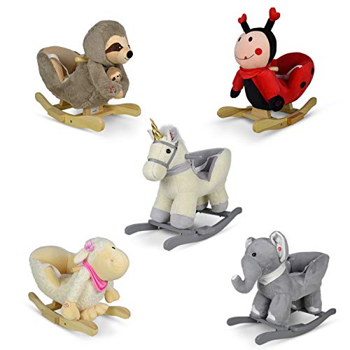 Infantastic® Plüsch Schaukeltier - Modellwahl, für Babys und Kinder, Haltegriff und Rückenlehne, ab 1 Jahr, mit Gurt, mit Lied - Schaukelpferd, Schaukeltier, Schaukelstuhl, Schaukelspielzeug