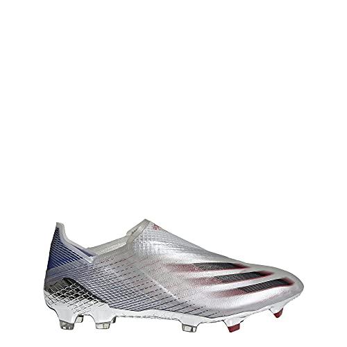 adidas X Ghosted+ Firm Ground Cleat - Unisex Fußball, Silberner Metallic-Kern, schwarz-scharlachrot, 42 EU