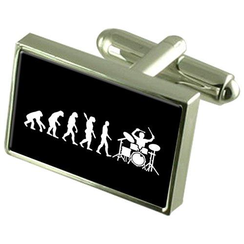 Evolution Affen zum Menschen Schlagzeuger Manschettenknöpfe Crystal Krawattenklammer Bar Box Set eingraviert