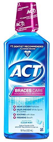 ACT Braces Care Ant-Cavity Fluoride Mouthwash, Clean Mint, 18 Fl Oz (Pack of 3)