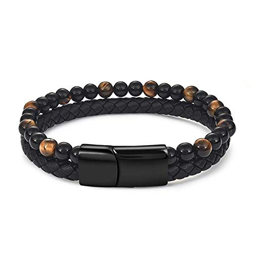Jewellery Bracelets Bangle For Womens Fashion Natural Stone Beaded Bracelet For Men Leather Stainless Steel Beads Bracelets Jewelry Homme Accessories-4_18.5Cm