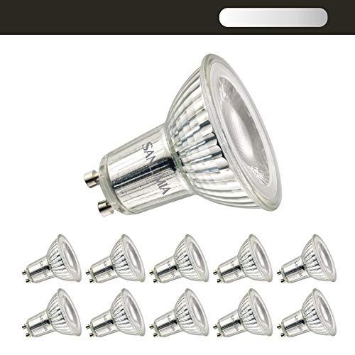 Sanlumia Lampadine LED GU10 7W, Equivalenti a Lampadine Alogene da 75 Watt, 650lm, Luce Bianca Calda 3000K, Angolo del Fascio di 38 Gradi, Dimmerabile, Confezione da 10